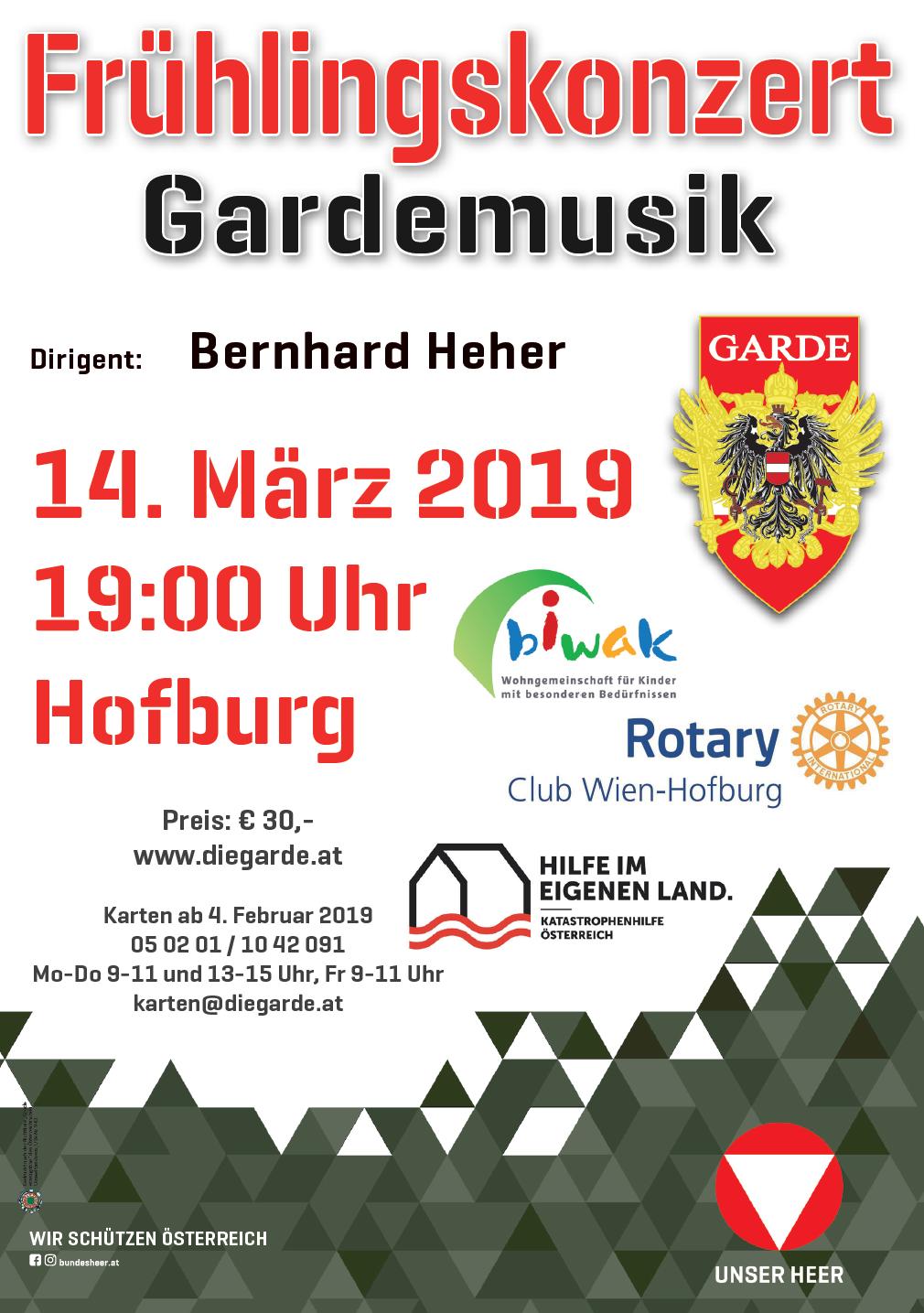 Frühlingskonzert der Gardemusik - Plakat