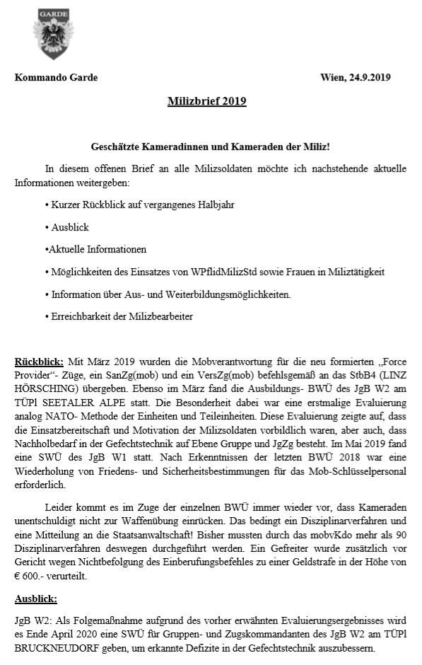Milizbrief  Garde 2019 - Seite 1