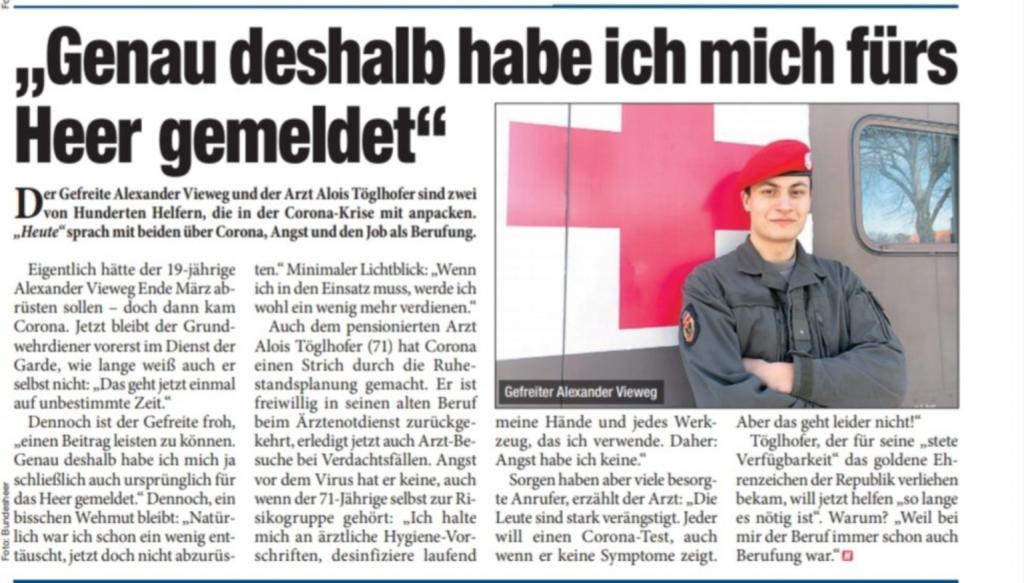 Zeitungsbericht HEUTE